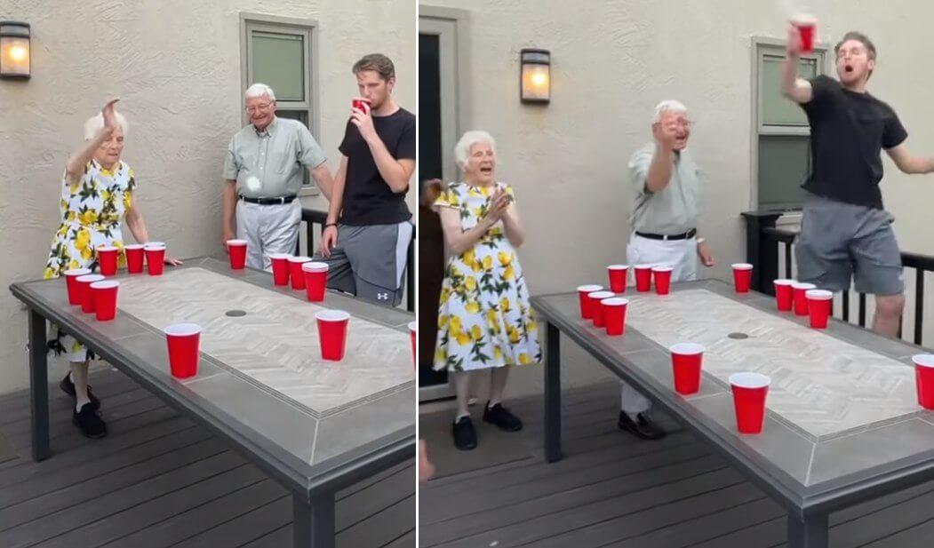 [VIDEO] Ono kad baka i djed partijaju jače od unuka: Evo kako umirovljenici igraju 'beer-pong'