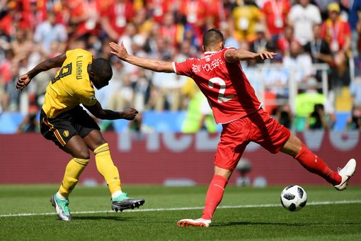 Romelu Lukaku of Belgium scores