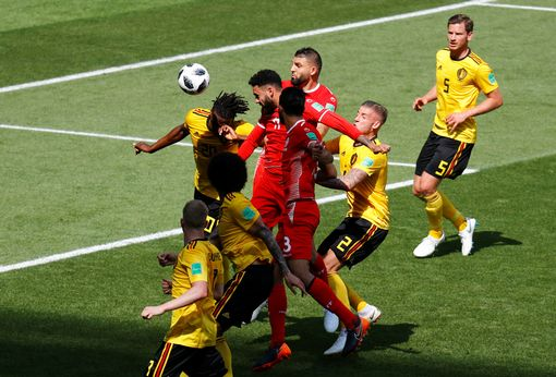 Tunisia's Dylan Bronn scores