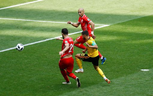Belgium's Eden Hazard scores