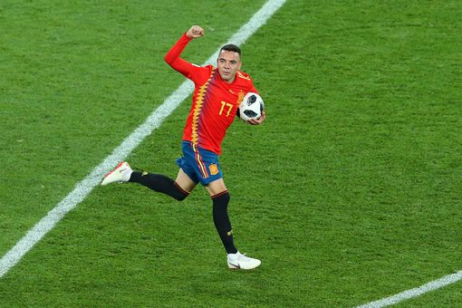 Iago Aspas of Spain celebrates