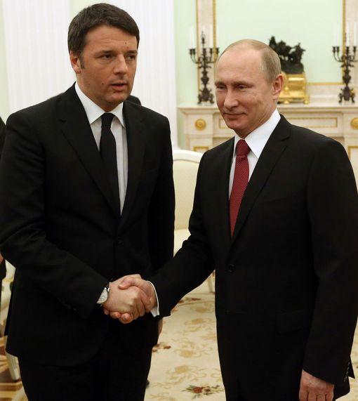 Russian President Vladimir Putin meets Italian Prime Minister Matteo Renzi
