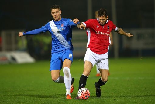 HARTLEPOOL, ENGLAND - DECEMBER 15: Gareth Seddon of Salford City competes with Brad Walker of Hartlepool United during the Emirates FA Cup second round replay match between Hartlepool United and Salford City at Victoria Park on December 15, 2015 in Hartlepool, England. (Photo by Alex Livesey/Getty Images)