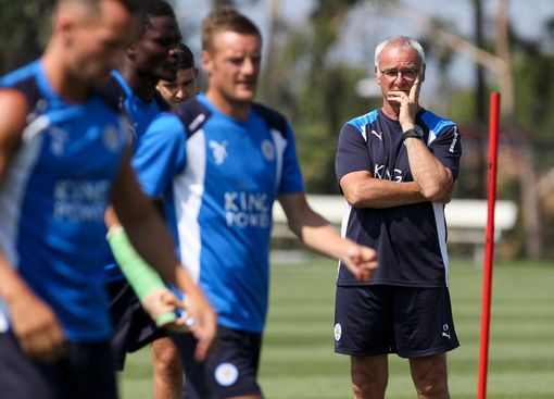 Leicester City F.C. coach Claudio Ranieri watches his players