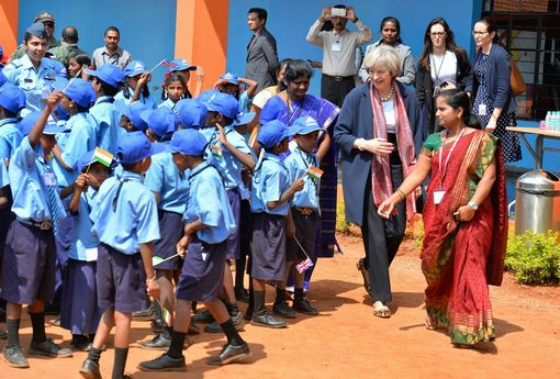 Theresa May visiting the Stone Hill Government Higher Primary School in Bangalore