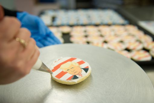 A Donald Trump cookie is decorated and then for sale at the Oakmont Bakery on November 8, 2016 in Oakmont, Pennsylvania