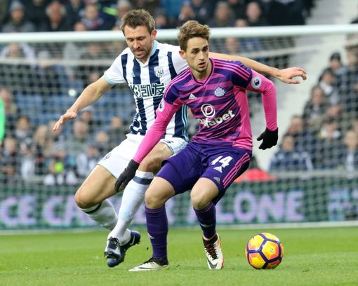 WEST BROMWICH, ENGLAND - JANUARY 21: Gareth McAuley of West Bromwich (L) tracks Adnan Januzaj of Sunderland during the Premier League match between West Bromwich Albion and Sunderland at The Hawthorns on January 21, 2017 in West Bromwich, England. (Photo by Ian Horrocks/Sunderland AFC via Getty Images)
