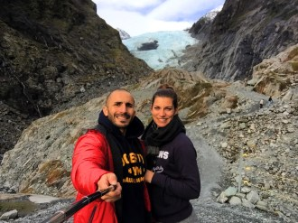 Selfie at the Franz Josef Glacier (or what remains of it!), South Island