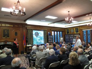 Armenian Genocide activist David Boyajian asks Yovanovitch a question during a meeting at the Armenian Cultural Foundation.