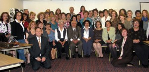Participants pose for a group photo at the Symposium for Armenian Teachers held at the Diocesan Center last month.