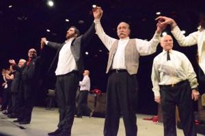 From left, director Gerald Papasian, with actors Harout Barsoumian (Tehlirian) and Karnig Nercessian (Talaat); Photo credit Robert Karapetyan