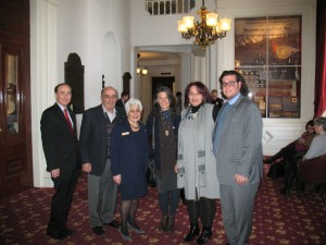 Author Chris Bohjalian, Harvey Bazarian, Rep. Joan Georges Lenes, author Dana Walrath, Arsho Aghjayan, and ANC Vermont's Nareg Aghjayan following the unanimous adoption of the Armenian Genocide Centennial resolution by the Vermont legislature. In the rear with Artist Philip Hagopian of Essex Vermont is Harvey Bazarian of Quechee Vermont. Harvey worked with close friends in the Senate to obtain their sponsorship.
