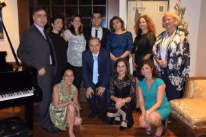 The soloist, with accompanist Nune Hakobyan, members of the YerazArt Board and the event committee members