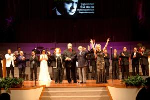 Co-hosts Nune Avedisian and Haroutune Foudoulian with honorees and other performers.