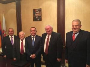 From left, Vartan Nazirian, Edmond Y. Azadian, Prime Minister Hovik Aprahamian, Hagop Vartivarian, Prof. Ruben Mirzakhanian