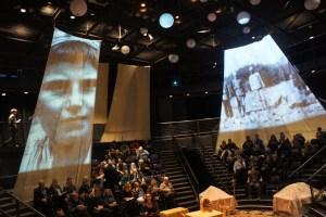 "The Balch Arena Theater set at the start of ""Daybreak"" ; Photo Aram Arkun"