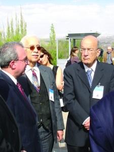 Dr. Rouben Adalian, Dr. Israel Charny, and Yossi Sarid at the Armenian Genocide Memorial Complex in Yerevan, Armenia; April 20, 2005