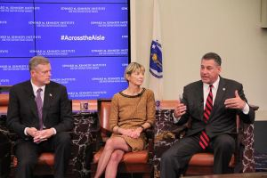 From left, Massachusetts Governor Charlie Baker, Massachusetts Secretary of Health and Human Services Marylou Sudders, and Sheriff Peter Koutoujian