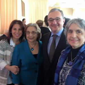 . From left, Carolyn Atinizian, Barbara Merguerian, Amb. Zohrab Mnatsakanyan and Judy Norsigian