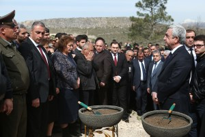 President Serge Sargisan attends a funeral service for young soldier at Yerablur