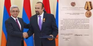 President Serzh Sargsyan with Daniel Varoujan Hejinian