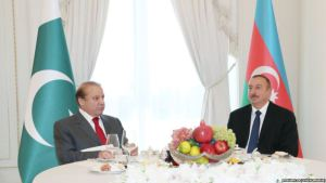 Pakistani Prime Minister Nawaz Sharif, left, with President Ilham Aliyev of Azerbaijan