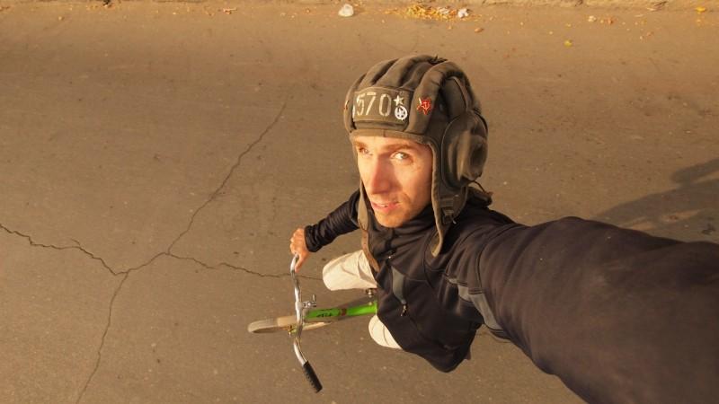 Autofoto Bici, self portrait, bicicle, Uzbekistan, Khiva