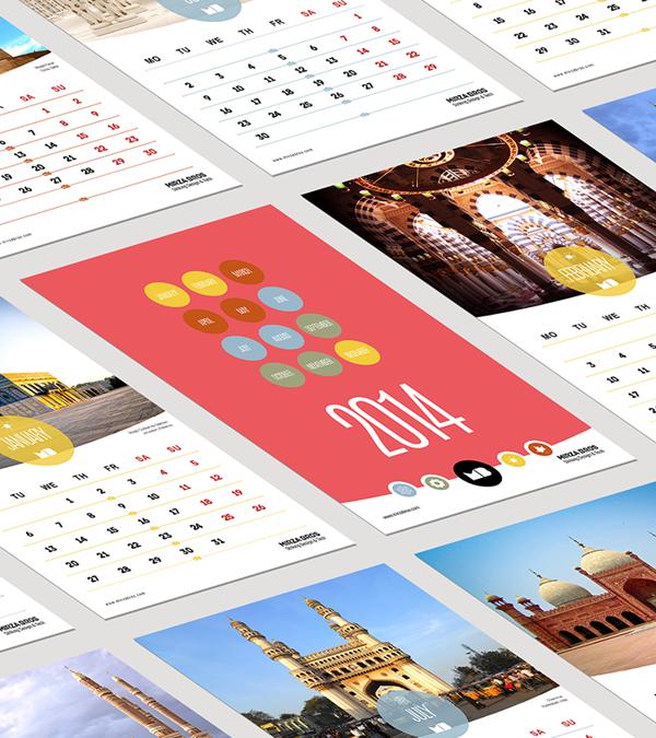 2014 Islamic Architecture Gregorian Calendar