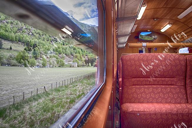 Inside the Flåm Railway's wagon. Not as crowded as I thought (good!). Photo © Misa Gjone