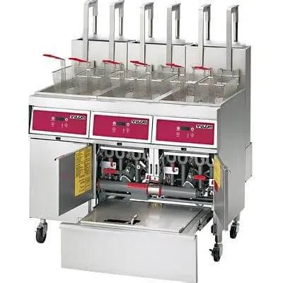 three battery restaurant kitchen deep fat fryer with built in filter