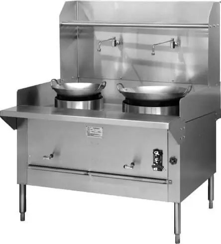 heavy duty commercial two wok restaurant kitchen range