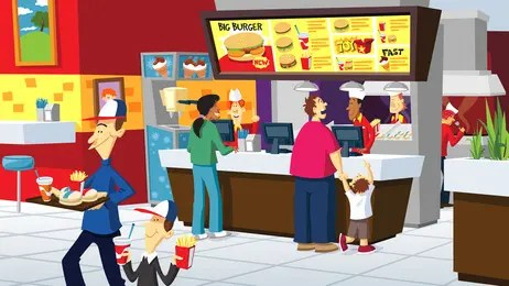 fast food restaurant cartoon