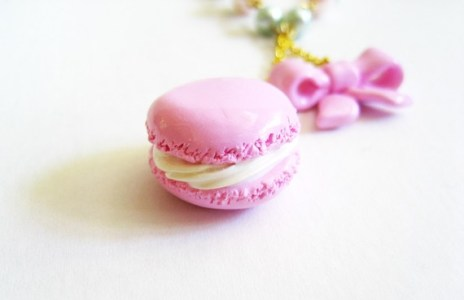Sweet Pink Macaron and Ribbon Necklace