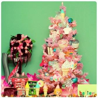 kitsch cupcake pink christmas tree
