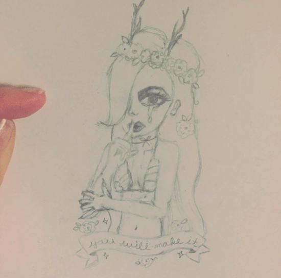deer fawn girl sketch