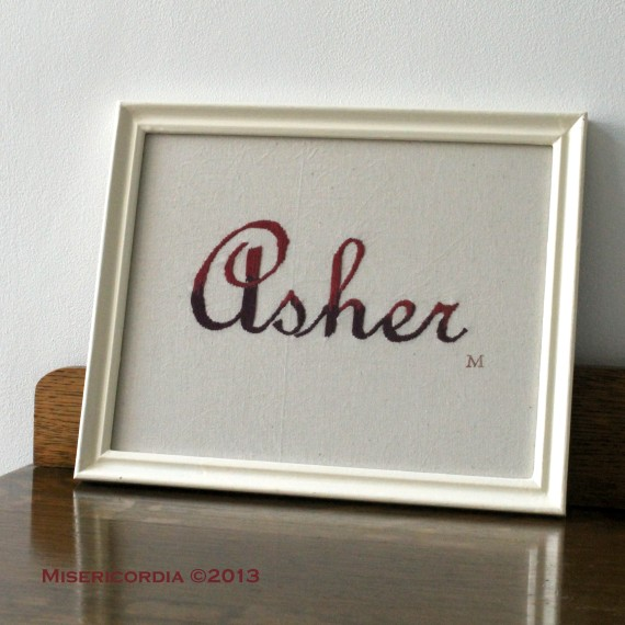 Asher - Hand embroidered commission by Misericordia