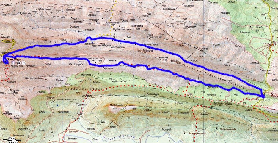 Mapa del recorrido 591 sobre Mapa de Aralar-Aranzadi 2010