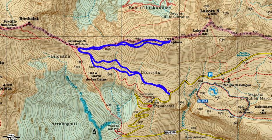 Mapa recorrido 611 sobre cartografía Alpina