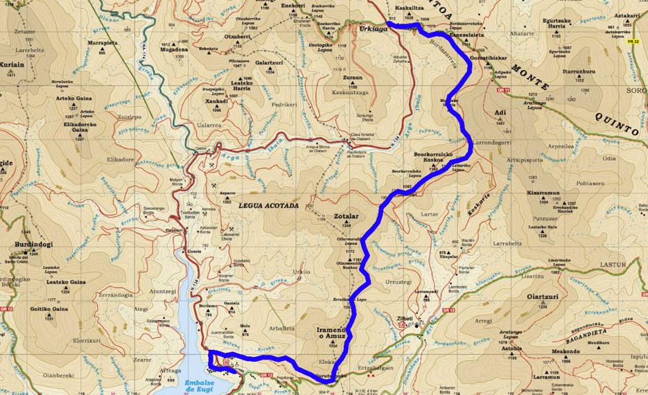 Mapa del recorrido 616 Senda Kintoan Barna