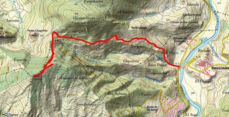 Mapa del recorrido 622