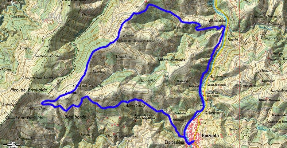 Mapa del recorrido 625