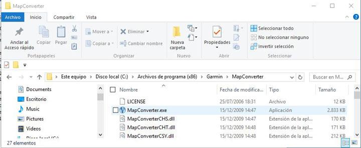 Ruta Garmin MapConverter en un PC