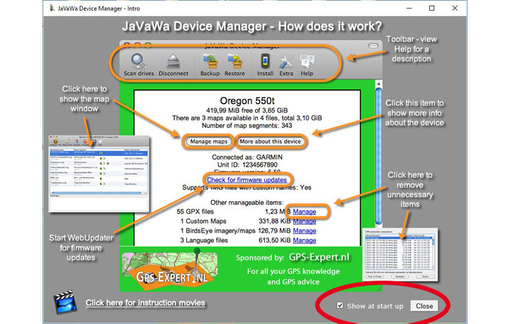 Inicio en Javawa Device Manager