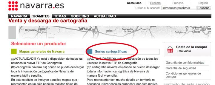 Acceso a la sección FTP de mapas de Navarra