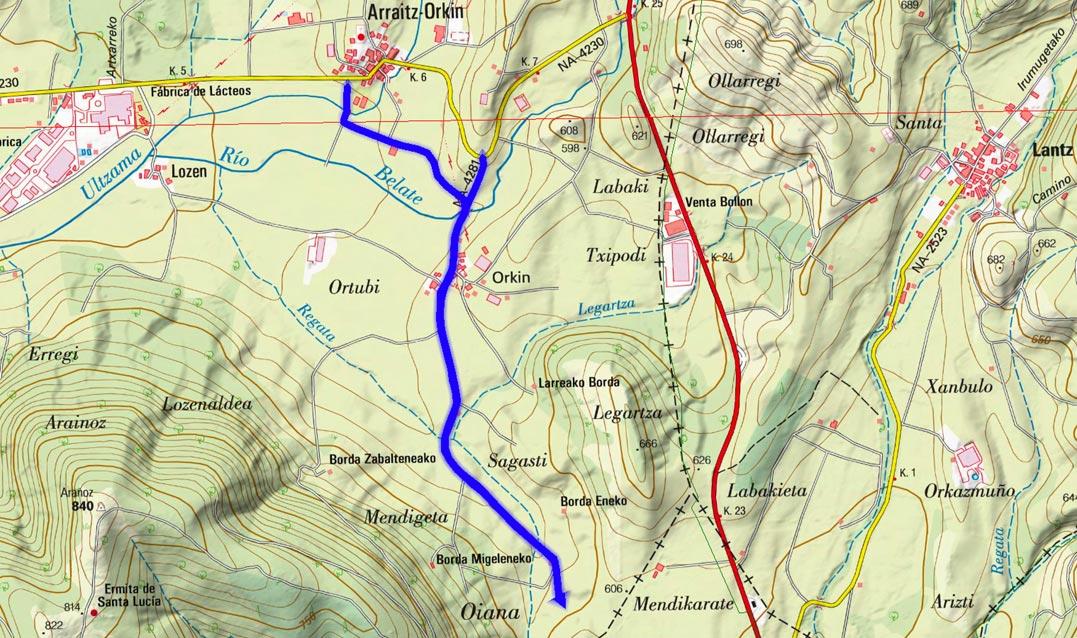 Mapa del recorrido 677