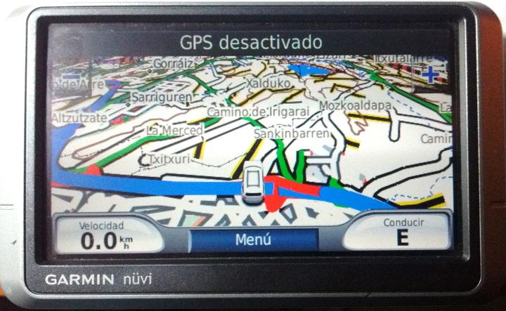 Mapa TopoNavarra 1.0 cargado en un Garmin de carreteras serie Nüvi