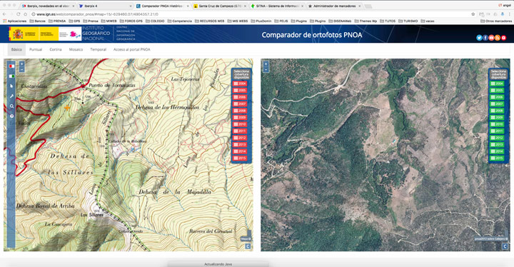 Ortofoto y mapa topo en Iberpix