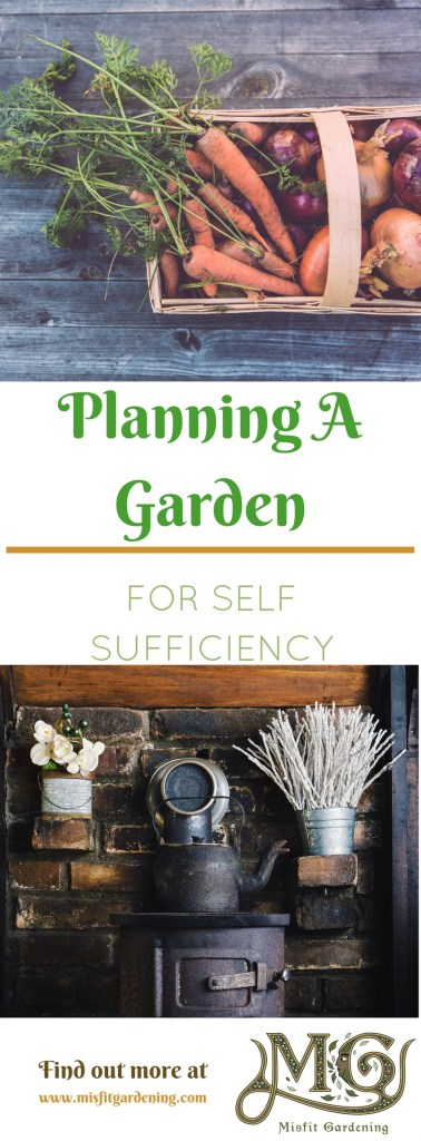 Planning a garden to grow your family's food need not be a daunting task. Click to find out how to plan a garden for self sufficiency or pin it and save it for later.