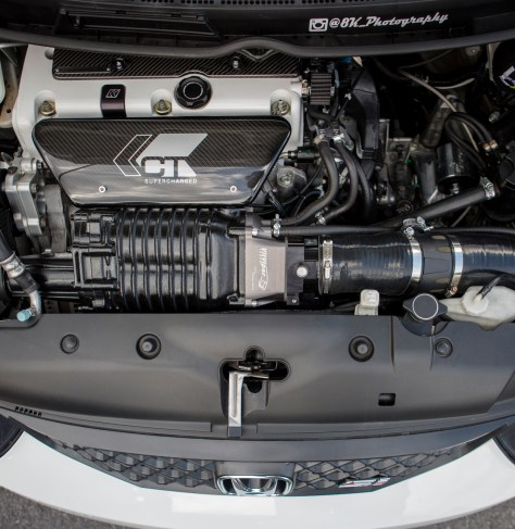 Coupled to the K20 is a 1.1l Eaton-style supercharger, bringing this 8th to well over 350 HP and 250 TQ. The 10th Gen's turbo setup might not come with that much power straight off the lot but the L15B7 does have the potential to reach similar numbers with much less effort from the owner.