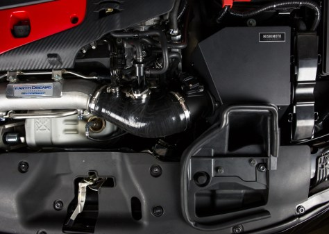 Our more durable silicone combined with the larger box and new MAF housing add the subtle hint of performance to the CTR's engine bay. Our final production unit is going to have a few differences in appearance, including all black hose clamps and a slight change to the MAF housing's external design.